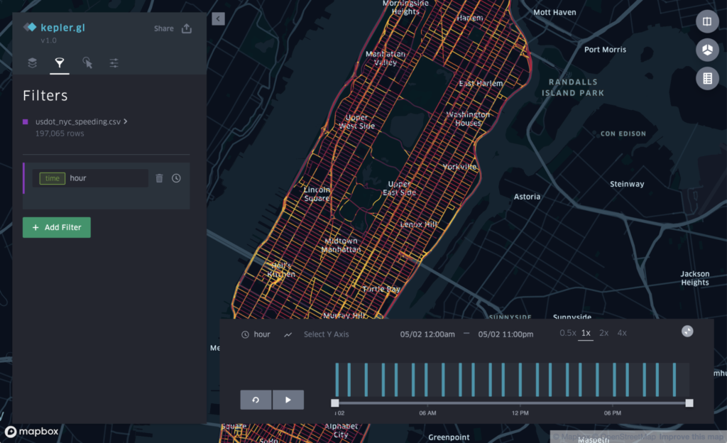 Visualization of NYC with playback control